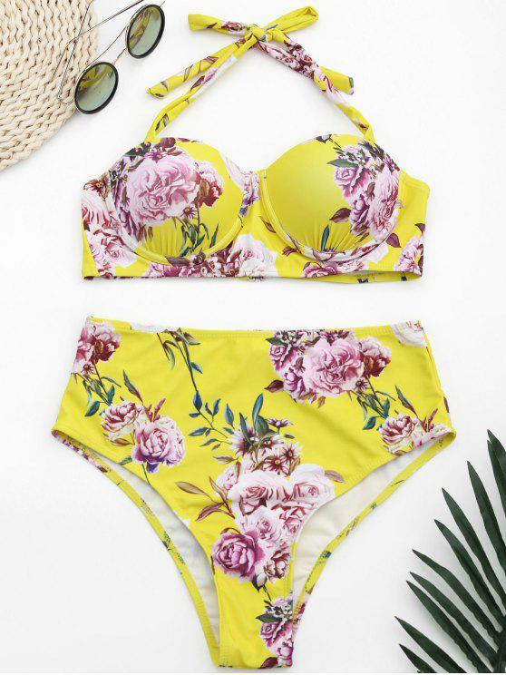 best Underwire Floral Halter High Waisted Bikini - YELLOW L