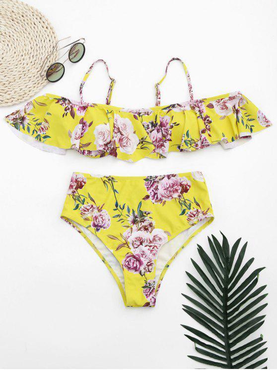 Rüschen Blumen Schulterfreier Hoch Taillierter Bikini - Gelb M