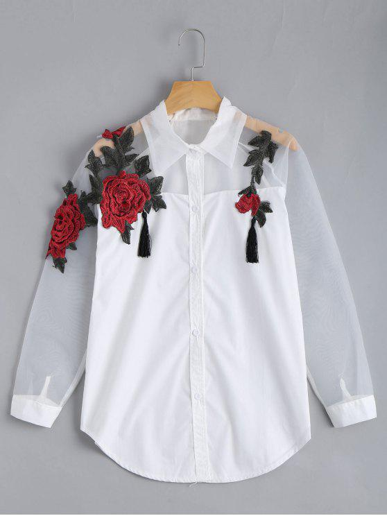 lady Embroidered Rose Applique Organza Panel BF Shirt - WHITE S