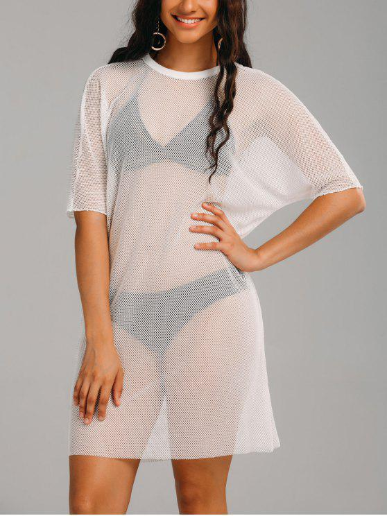 dce39b499 19% OFF] 2019 See Thru Mesh Sheer Cover Up Dress In WHITE | ZAFUL