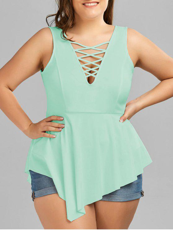 lady V Neck Crisscross Asymmetrical Plus Size Top - MINT XL