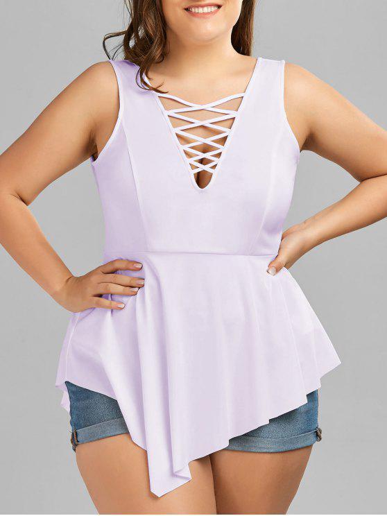 outfit V Neck Crisscross Asymmetrical Plus Size Top - LIGHT PURPLE XL