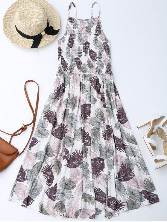 Robe Midi A Line Smockée Florale - Blanc XL