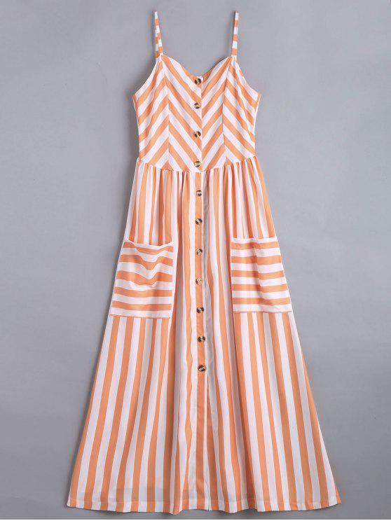 fashion Button Up Striped Cami Dress - STRIPE M