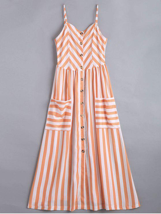 fancy Button Up Striped Cami Dress - STRIPE XL
