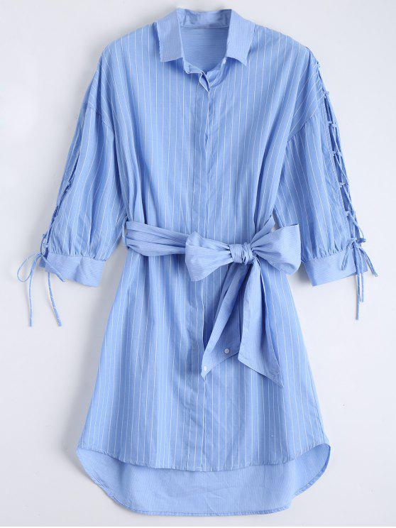 Lace Up Manga Dip Hem camisa de rayas vestido - Azul L