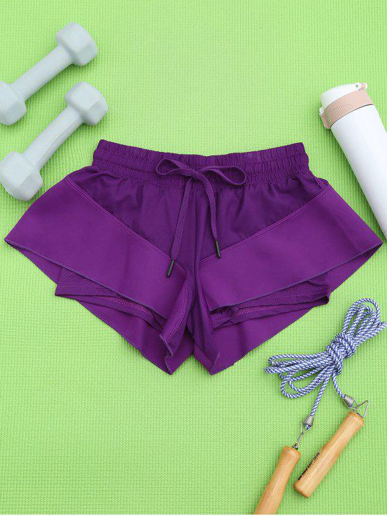 outfits Double Layer Running Shorts - PURPLE M