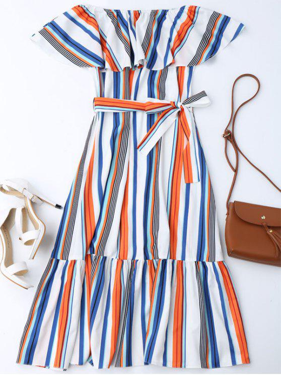 latest Flounce Striped Belted Dress - STRIPE ONE SIZE