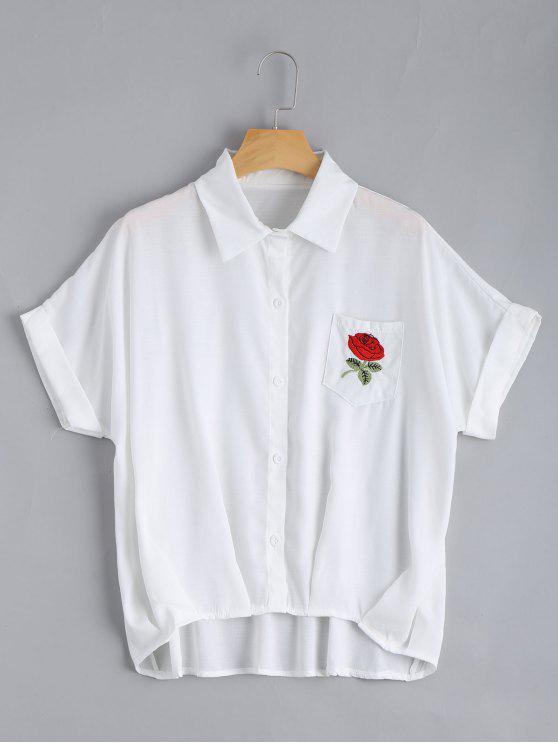 Blusa de bolso remendada floral com botão para cima - Branco Tamanho único