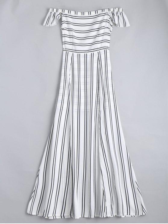 outfit Off The Shoulder Slit Striped Maxi Dress - STRIPE S