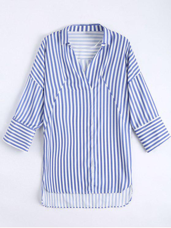 outfit High Low Longline Striped Shirt - BLUE L