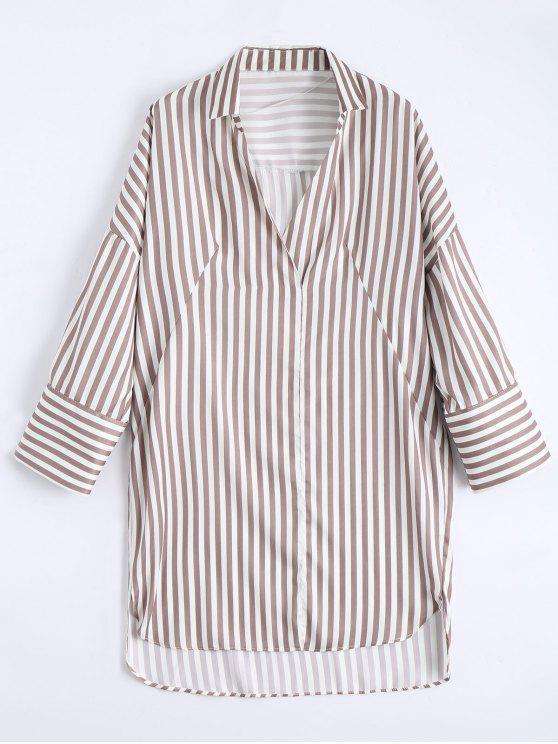 shops High Low Longline Striped Shirt - LIGHT COFFEE S