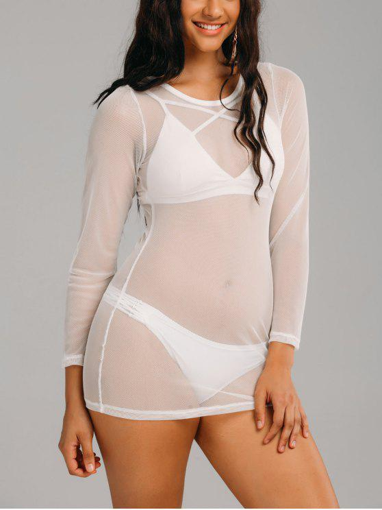 trendy Mesh Long Sleeve See Through Cover Up Dress - WHITE XL