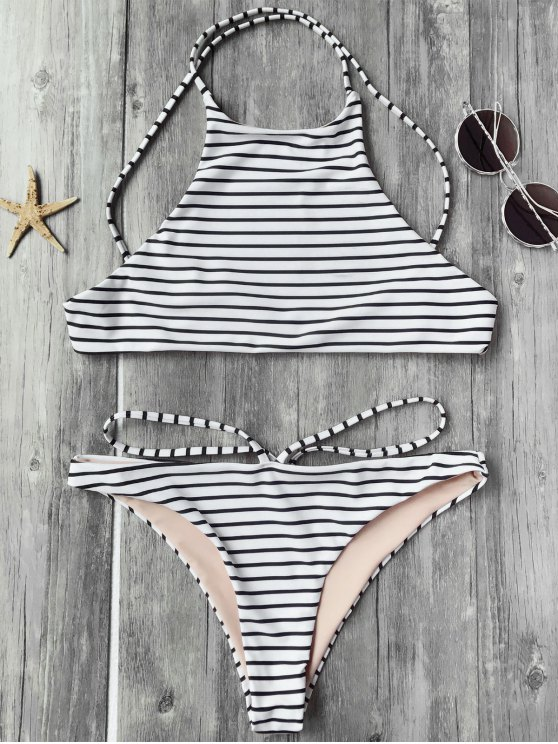 affordable Striped High Neck Bikini Top and Bottoms - WHITE AND BLACK M