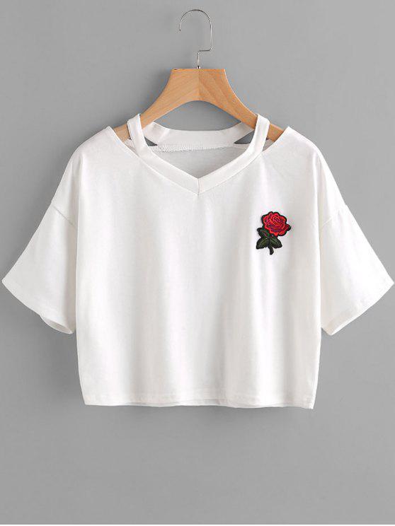 affordable Floral Embroidered Cold Shoulder Top - WHITE L