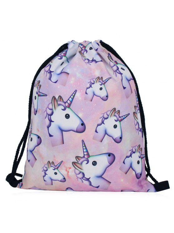 Unicorn Print Drawstring Backpack - Multicolore