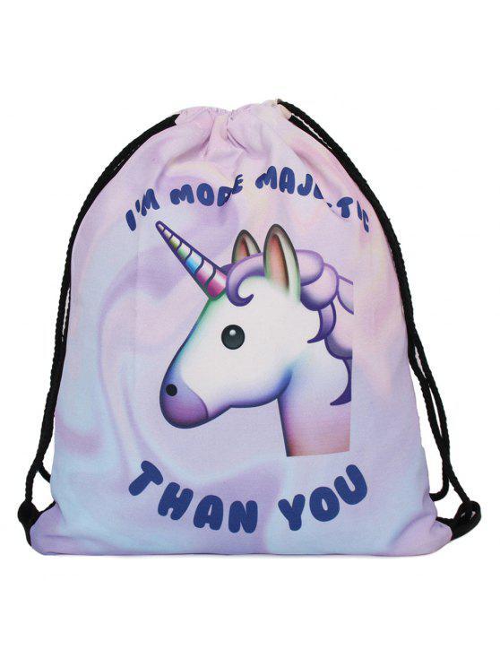 Unicorn Print Drawstring Backpack - Pourpre