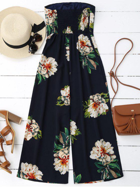 Floral Print Padded Bandeau Cropped Jumpsuit