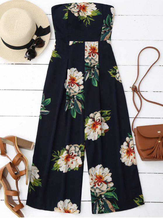 hot Floral Print Padded Bandeau Cropped Jumpsuit - PURPLISH BLUE S
