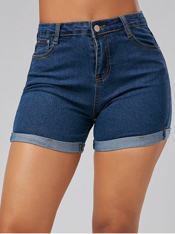 Enge Mini Denim Shorts mit hoher Taille und Saumaufschlag - Blau S