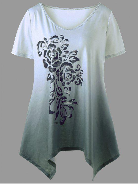 hot Plus Size Ombre Bandana Floral T-shirt - SAGE GREEN 5XL