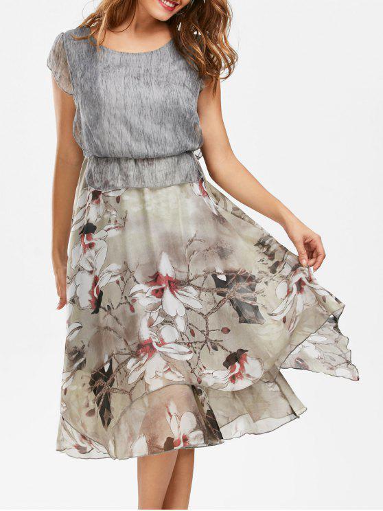 فستان بوهيمي طباعة الأزهار ميدي كشكش وبيبلوم - رمادي M