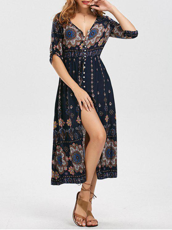 فستان بوهيمي عالية انقسام طباعة قبلية - Colormix XL