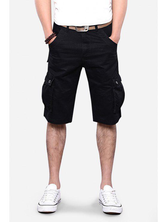جيوب تصميم مستقيم الساق البضائع السراويل - أسود 34