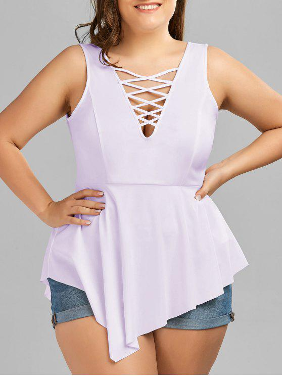 V Neck Crisscross Asymmetrical Plus Size Top - Roxo Claro 5XL
