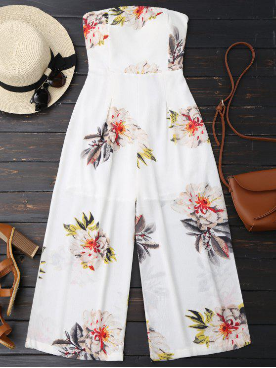 ladies Floral Print Padded Bandeau Cropped Jumpsuit - WHITE S