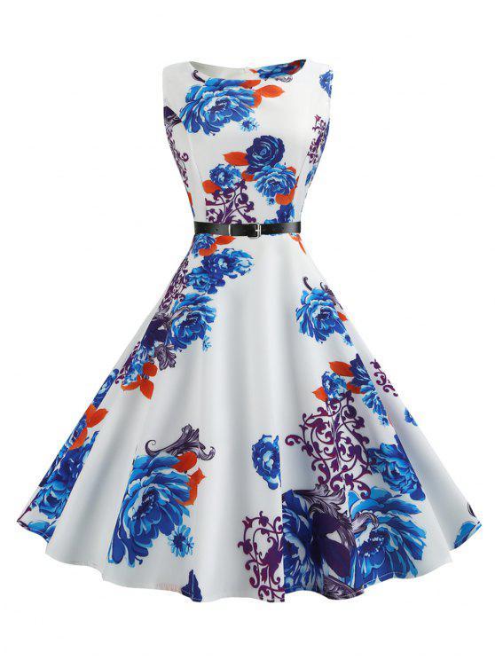فستان ملائم وتوهج كلاسيكي بلا أكمام - أزرق M