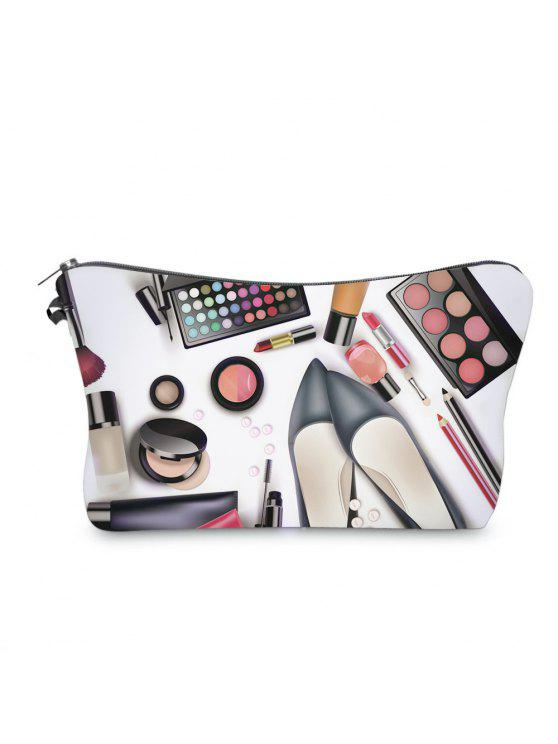 trendy 3D Cosmetics Print Clutch Makeup Bag - BLACK