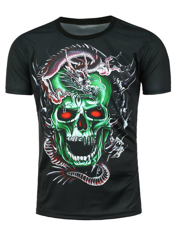 ladies 3D Dragon Skull Printed Short Sleeve T-shirt - BLACK XL
