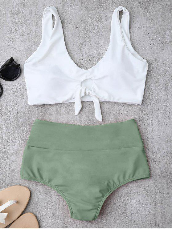 fancy Knotted High Waisted Ruched Bikini Set - LIGHT GREEN L