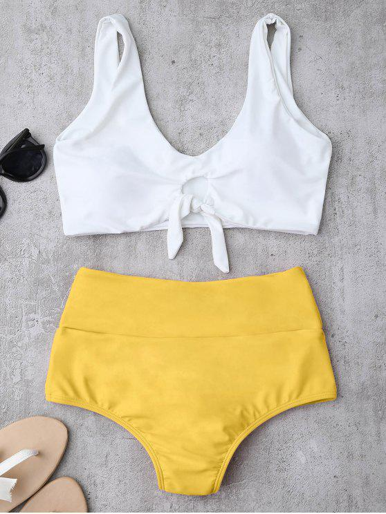 shop Knotted High Waisted Ruched Bikini Set - YELLOW XL
