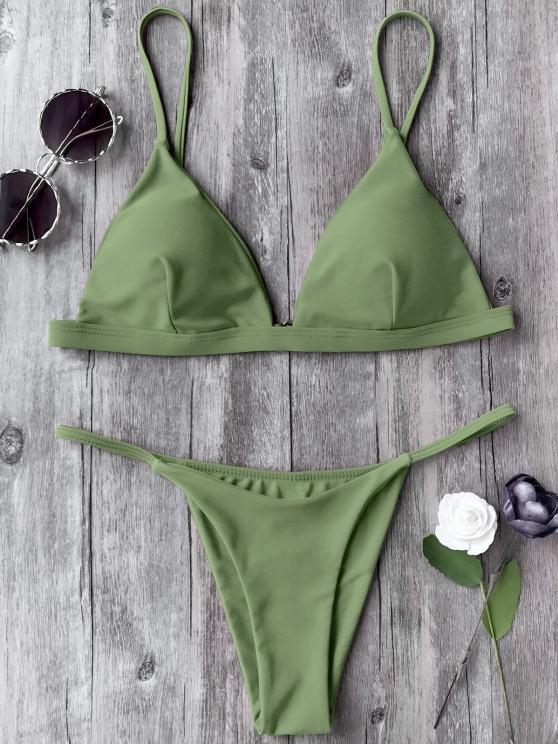 women Spaghetti Straps Plunge Thong Bikini Set - GREEN S