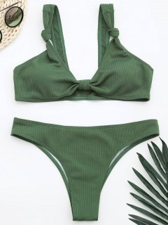 Ribbed Knotted Bowknot Bathing Suit - Light Green L