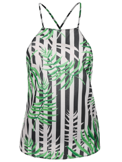 Bow Tie Bamboo Leaves Backless Tank Top - Multicolor S
