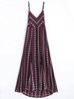 High Slit Criss Cross Beach Midi Dress - Wine Red S