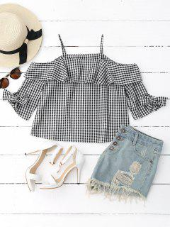 Ruffles Off Shoulder Cami Plaid Blouse - Checked M