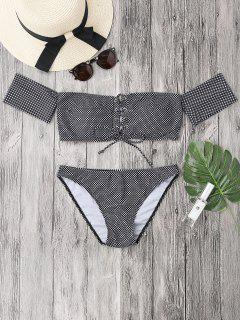Dotted Lacing Off The Shoulder Bikini Set - White And Black S