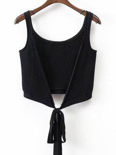Ribbed Beach Cover Up Crop Wrap Top - Black S