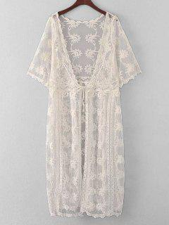 Embroidered Sheer Lace Kimono Cover Up - Off-white