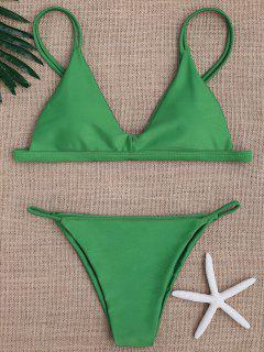 Niedrige Taille Spaghettiträger-Bikini-Bademode - Grün M