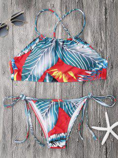 High Neck Palm Print String Bikini Set - Blue And Red S