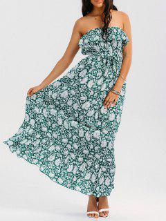 Printed Ruffles Maxi Tube Dress - Floral Xl