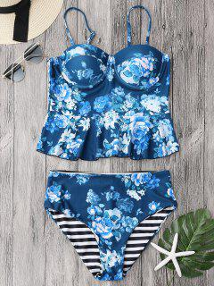 Cupped Tankini Top And High Rise Bottoms - Blue S