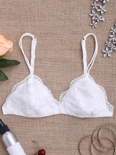 Strappy Floral Lace Bralette Top - White S