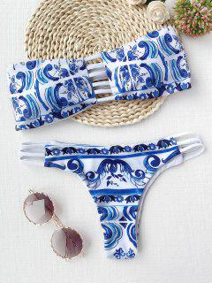Porcelain Print Cutout Bandeau Bikini Set - Blue And White L