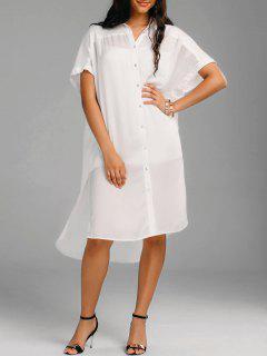 Oversized High Low Slit Shirt Dress - White 2xl